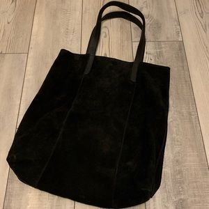 Large suede leather shoulder tote bag LNC EUC